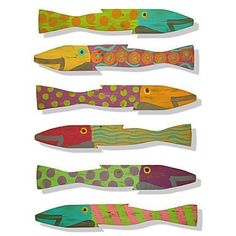 """These charming fish are handmade out of salvaged fences. Each is hand-painted and a true work of art! They are approximately 3 inches wide by 23 inches long. Because of the handmade nature of these fish, the colors will vary slightly. Perfect for your beach house, lake house or bathroom! This is our new Caribbean Colorway! They can be placed outside or hung inside... each has a hook on the back. And each fish is dated and signed by the artist """"SKS"""". Set of 6."""
