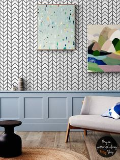 home Wallpaper Simple - Geometric herringbone pattern removable wallpaper, simple decor, scandinavian style home design Scandinavian Style Home, Scandinavian Interior Design, Herringbone Wallpaper, Herringbone Pattern, Scandinavian Wallpaper, Scandi Wallpaper, Diy Home, Home Decor, Home Wallpaper