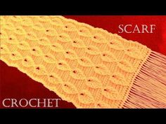 Como tejer a Crochet o Ganchillo bufanda chalina en punto de hojas en relieve - YouTube