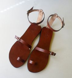 Cool Toe Ring Ankle Strap Barefoot Sandals With Silver Buckles - Breeze. $60.00, via Etsy.