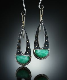 Chrysoprase Earrings. Fabricated Sterling Silver and 14k. www.amybuettner.com https://www.facebook.com/pages/Metalsmiths-Amy-Buettner-Tucker-Glasow/101876779907812?ref=hl https://www.etsy.com/people/amybuettner http://instagram.com/amybuettnertuckerglasow