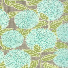 Aqua Green and Grey Hydrangea Floral Fabric, Bluebird Park by Kate and Birdie paper Co for Moda, Hydrangea Print in Lamp Post Grey, 1 Yard Patchwork Fabric, Grey Fabric, Floral Fabric, Quilting Fabric, Cotton Fabric, Pillow Fabric, Curtain Fabric, Fabric Patterns, Print Patterns