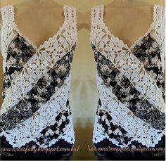 Crochet Top W/Squares. Fabianne Castilho: Grafico e esquema de montagem da camiseta em equares