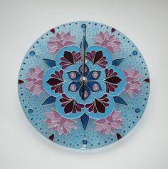 Lotus & Snow flower Mandala Wall Clock Glass Clock by heraglass  #mandala #lakasdekoracio #ajandekotlet #egyedi uvegora
