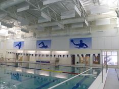 HushTone Printed Screens mask acoustical treatment with images at a pool!
