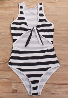 b7d66fcc35 Black-White Striped Cut Out Lace-up V-neck Fashion One Piece Swimsuit  Swimwear