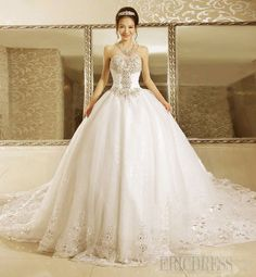 Luxurious Ball Gown Strapless Beads Cathedral Train L ace-up Wedding Dress 3 Cathedral Wedding Dress, Sheer Wedding Dress, Wedding Dress Train, Wedding Dresses 2014, Wedding Dress Sleeves, Long Sleeve Wedding, Cathedral Train, Gown Wedding, Wedding Art