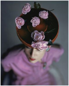 Photo John Rawlings Model Wearing Red Hat With Pink Roses From 1944 Vogue