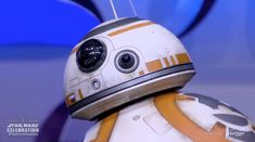 BB-8 droid from The Force Awakens rolls out on stage at Star Wars Celebr...