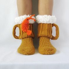Beer & shrimp socks, Beer socks, Ale socks, beer glass socks. Man sock. Woman socks. Knit Socks. Handmade gift. Wool Socks. Warm socks.