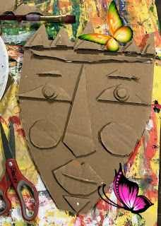 5th grade Kimmy Cantrell inspired mask  <br> This week, 5th grade will start their Kimmy Cantrell inspired cardboard relief mask! I was inspired by the Plastiquem blog and the Handmakery blog. They introduced me to this artist and I wanted to share him with my 5th graders! Here's a link to more information about Kimmy Cantrell! In short, he's a contemporary artist from Atlanta, who makes beautiful, colorful works of art, out of clay, and his subject matter usually consists of faces. So… Cardboard Relief, Kimmy Cantrell, Gas Mask Tattoo, Masks Art, Contemporary Artists, Fine Motor Skills, New Trends, Art Projects, Tattoos For Guys