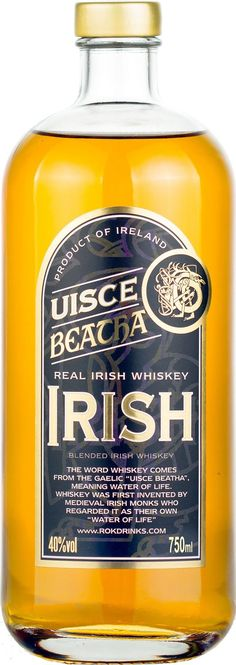 Uisce Beatha Real Irish Whiskey.  Aged for a minimum of four years in ex-bourbon casks, this Irish #whiskey won the Gold Medal at the 2014 International Craft Spirits Competition. | @Caskers