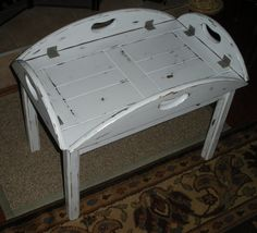 Coffee Table Cottage Chic French Country Removable Serving Tray Beach Decor Refurbished