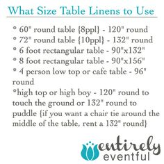 What size of table linens to use for your party! #partyplanning #party