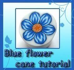 Polymer clay BLUE-FLOWER cane tutorial