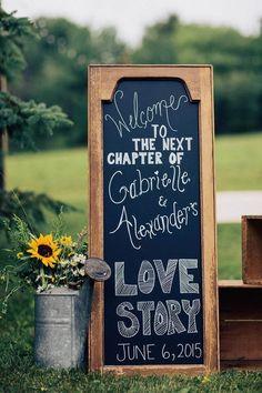 Shabby chic wedding signage / http://www.himisspuff.com/country-sunflower-wedding-ideas/