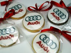 Audi corporate Logo Cookie Gifts http://www.pinkcakeland.co.uk #corporatecookies #audi #logocookies #londoncookies #logocookieslondon
