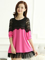 Women's Casual/Cute Inelastic ½ Length Sleeve Regular Blouse (Chiffon/Lace)