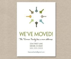 home sweet home moving announcement address change printable card
