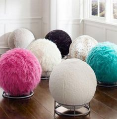 Cool Roller Rocking Desk Chair in the Shape of Cute Ball with Soft Furs