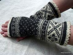 Filharmonicas kreative verden: Strikkedilla! Mitten Gloves, Mittens, Fingerless Gloves, Arm Warmers, Knit Crochet, Knitting, Fashion, Moda, Cuffs