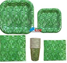 Green Block Pattern Party Pack (For 10 People) Party Place… Minecraft Birthday Party, 8th Birthday, Birthday Ideas, Hard Men, Party Places, Thing 1, Partying Hard, Pattern Blocks, Birthday Party Decorations