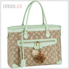 """* Calfskin leather key bell * Hand or shoulder carry * Exterior front pocket with padlock closure * Interior zipped pocket * Textile lining signed with woven Louis Vuitton Inventeur plate  Description: The spacious Cabas GM in cotton jacquard Monogram Sabbia fabric exudes vintage-inspired charm. Eye-catching calfskin leather trimmings and ornate hand-made floral details make it fresh and feminine.   Color: Vert Material: Canvas Size: 15.4"""" x 12.8"""" x 7.1"""""""