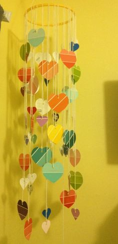 DIY Paint Sample Heart Chandelier- would do different shapes, not hearts