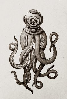 Tattoo inspiration... Diver Octo. by Maria Tiurina