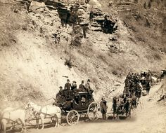 1889 a stagecoach on the road into Deadwood