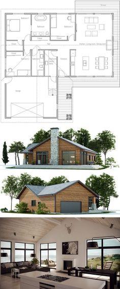 Projet de #Maison http://www.m-habitat.fr/plans-types-de-maisons/types-de-maisons/les-maisons-en-bois-727_A