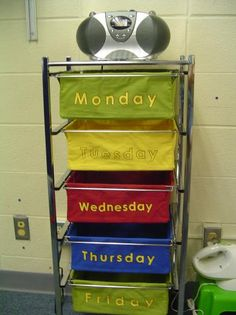this site has a bunch of great organization ideas for the classroom. This one is all lessons and materials for the day go in each drawer.