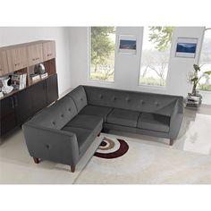 Diamond Sofa Aqua 2 Piece Fabric Sectional in Gray