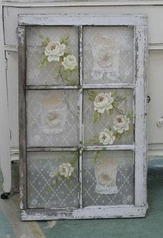Shabby chic - old windows painted. Love the flowers!! #shabbychic ...