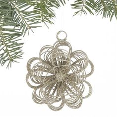 Glitter Loop Burst Gold Ornament in Christmas Ornaments | Crate and Barrel