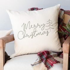 Merry Christmas Pillow - 18x18 Pillow Cover Only