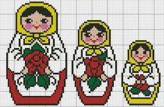 Borduurpatroon matroesjka in kruissteek | kan op matjes mozaiek aangeleverd worden
