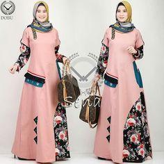 Gamis Batik Fashion, Abaya Fashion, Fashion Dresses, Long Dress Patterns, Muslim Women Fashion, African Fashion Ankara, Abaya Designs, Muslim Dress, Batik Dress
