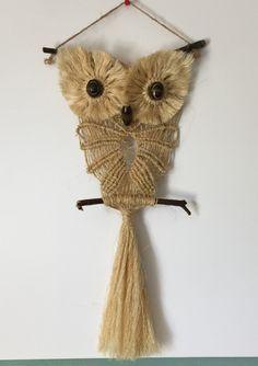 OWL #12 Macrame Wall Hanging, natural sisal, macrame owl