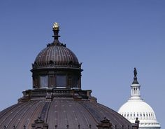 Domes of the Library of Congress Thomas Jefferson Building (in the foreground) and the U.S. Capitol (in the background), Washington, D.C.  Photo by Carol Highsmith. Carol M. Highsmith's America, Library of Congress Prints and Photographs Division.