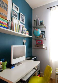 Turquoise Office: Great colour for one wall combined with white walls. Love it.