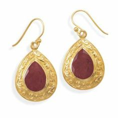 14 Karat Gold Plated Rough-Cut Ruby Earrings JJ FashionTrends. $64.35. Save 35% Off!