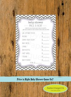 INSTANT UPLOAD  Baby Shower Game The Price Is Right Chevron Purple & Gray - Print Your Own on Etsy, $5.00