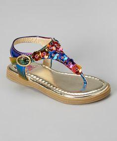 Love this Metallic Purple Flower T-Strap Sandal on #zulily! #zulilyfinds