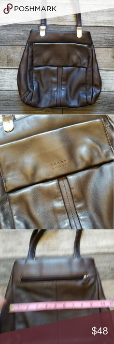 CRAZY HORSE (Liz Claiborne) brown leather bag Dark brown leather shoulder bag with front flap pocket. Snap closure and center zipper pouch Liz Claiborne Bags Shoulder Bags