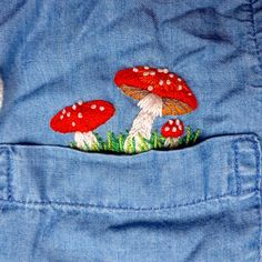 I'm still new to embroidery so be gentle! Here are some freehand pocket mushrooms : Embroidery Embroidery On Clothes, Cute Embroidery, Embroidered Clothes, Hand Embroidery Designs, Embroidery Patterns, Stitch Patterns, Embroidery On Denim, Basic Embroidery Stitches, Cross Stitch Embroidery