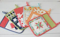 Quilted Hot Pads - Cotton Way: Happy NEW Year, 7 NEW Patterns and Happy-go-lucky Fabric!