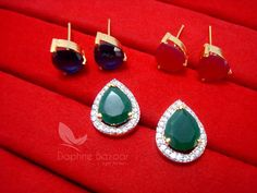 Daphne Three Shade Changeable Zircon Earrings for women – Pink, Green and Blue – Buy Indian Fashion Jewellery Gold Ring Designs, Gold Earrings Designs, Necklace Designs, Coral Jewelry, Ear Jewelry, Stone Earrings, Women's Earrings, Bold Necklace, Silver Choker
