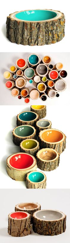 Log Bowls // Made of reclaimed logs with a colorful gloss interior... stunning.