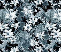 jungle monochrome blue fabric by kociara on Spoonflower - custom fabric